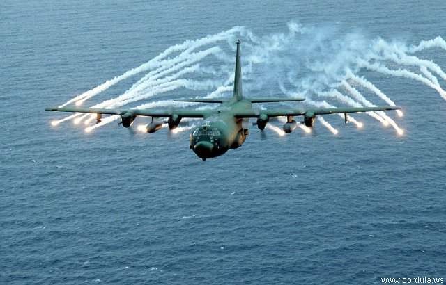 Cordula's Web. USAF. MC-130E Combat Talon I firing anti-rocket flares.
