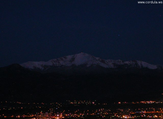 Cordula's Web. Flickr. Colorado Springs and Pikes Peak just before sunrise.