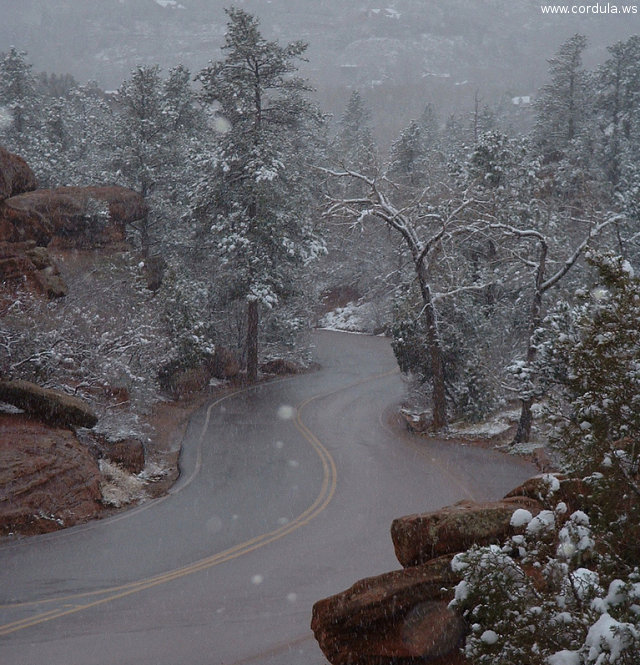 Cordula's Web. Flickr. Snowy Road, Garden of the Gods, Colorado Springs.