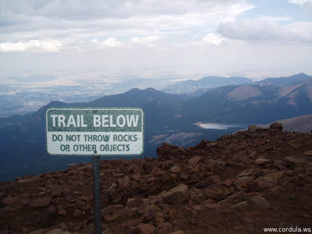 Cordula's Web. Flickr. Trail Below sign on Pikes Peak.
