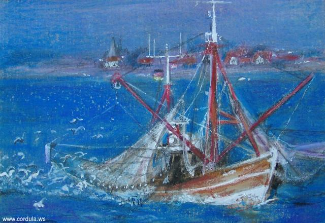 Cordula's Web. Small ship on blue sea, by M. H. L.