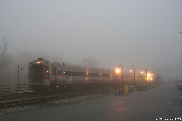 Cordula's Web. NOAA. MARC Commuter Train in the Fog, Point of Rocks, Maryland.