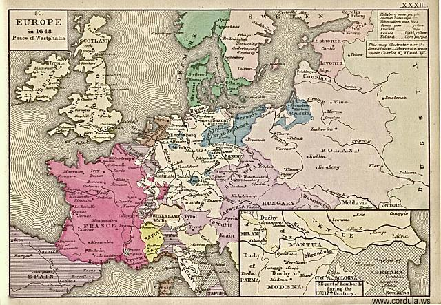 Cordula's Web. Map of Europe in 1648. Peace of Westphalia