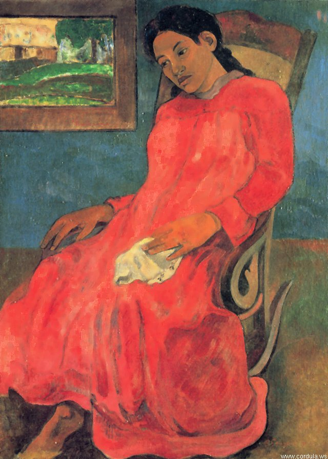 Cordula's Web. Wikicommons. Paul Gauguin. Lady in Red.